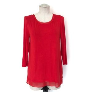 NWT Marled Red Tee with Chiffon Trim Size M